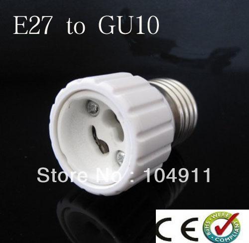 10pcs/lots E27 TO GU10 lamp holder adapter converter White Bulb Base Converter High Quality LED Light Lamp Adapter Screw Socket(China (Mainland))