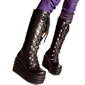 ENMAYER new2016 gothic punk shoes cosplay boots knee high heel platform sexy zip winter wedges knee high boots punk shoes women <br><br>Aliexpress
