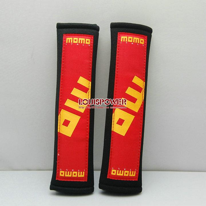 Free shipping 2pcs 2inch MOMO Car SeatBelt Seat belt Shoulder Pads 11 Harness Seat Belt Pads Shoulder Pad RED-BLACK(China (Mainland))