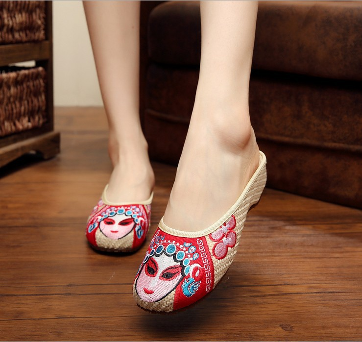 Hot! Beauty face old Beijing cloth shoes embroidered ethnic embroidery traditional flax Oxford bottom top female indoor slippers(China (Mainland))