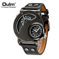 Oulm Male Casual Leather Strap Military Wristwatch Clock Mens Watch Top Brand Quartz watch relogio masculino