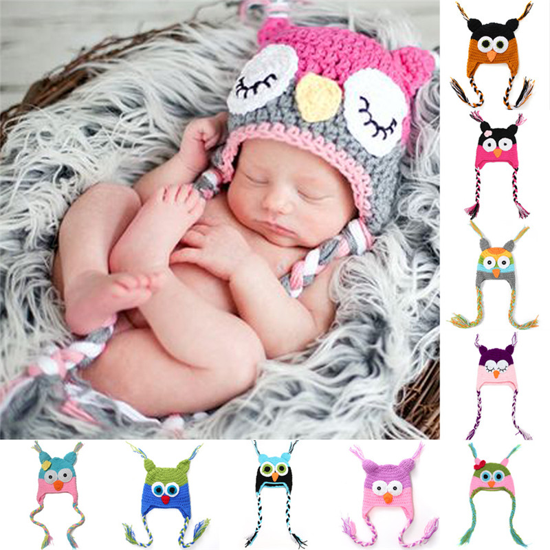 Cute Cartoon Baby Soft Bonnet Photography Props Animal Caps Infant Toddler Handmade Knitted Crochet Baby Owl Hat Ear Flap 082(China (Mainland))