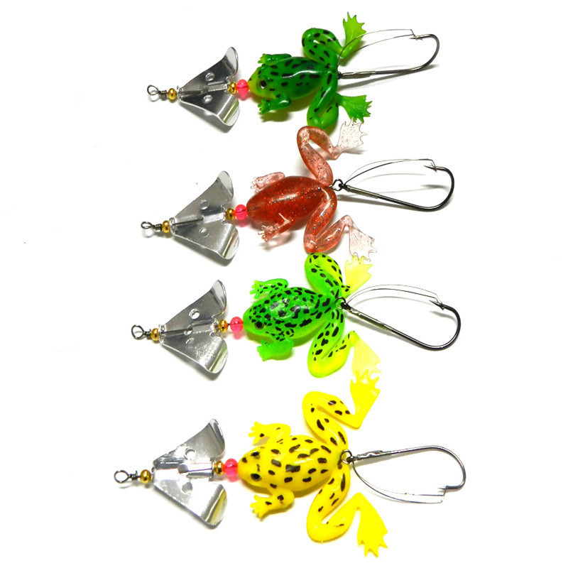 Lures Bass 8cm 6.2g Frog Glitter Soft Fish Hook Finished Environmental Protection Bait Fishing Baits Supply Spinner Bait 10pcs(China (Mainland))