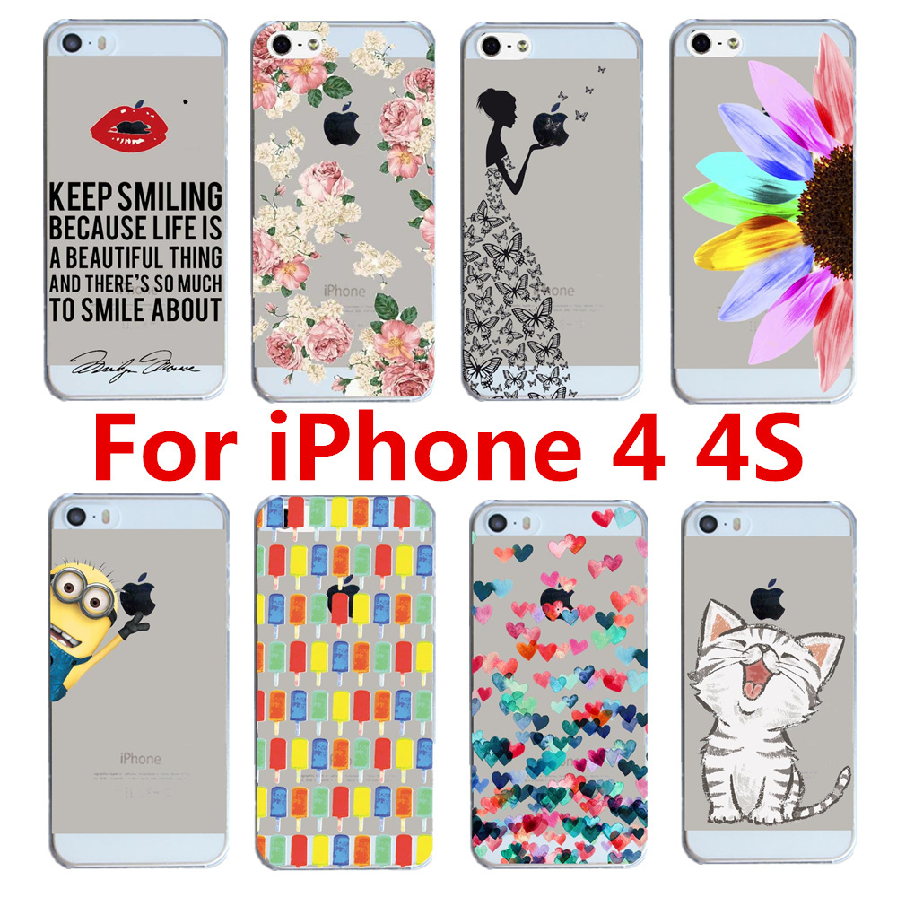 2015 New Arrival Hot 22 Styles PC Hard Transparent Phone Skin Back Case Cover For Apple i Phone iPhone 4 4S 4G(China (Mainland))