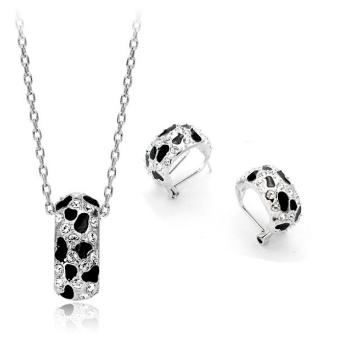 White Leopard Print 18K white Gold Plated Jewelry Necklace Earring Set Rhinestone Made Austrian Crystals SB016 - szwxfx store (MOQ:15USD store)