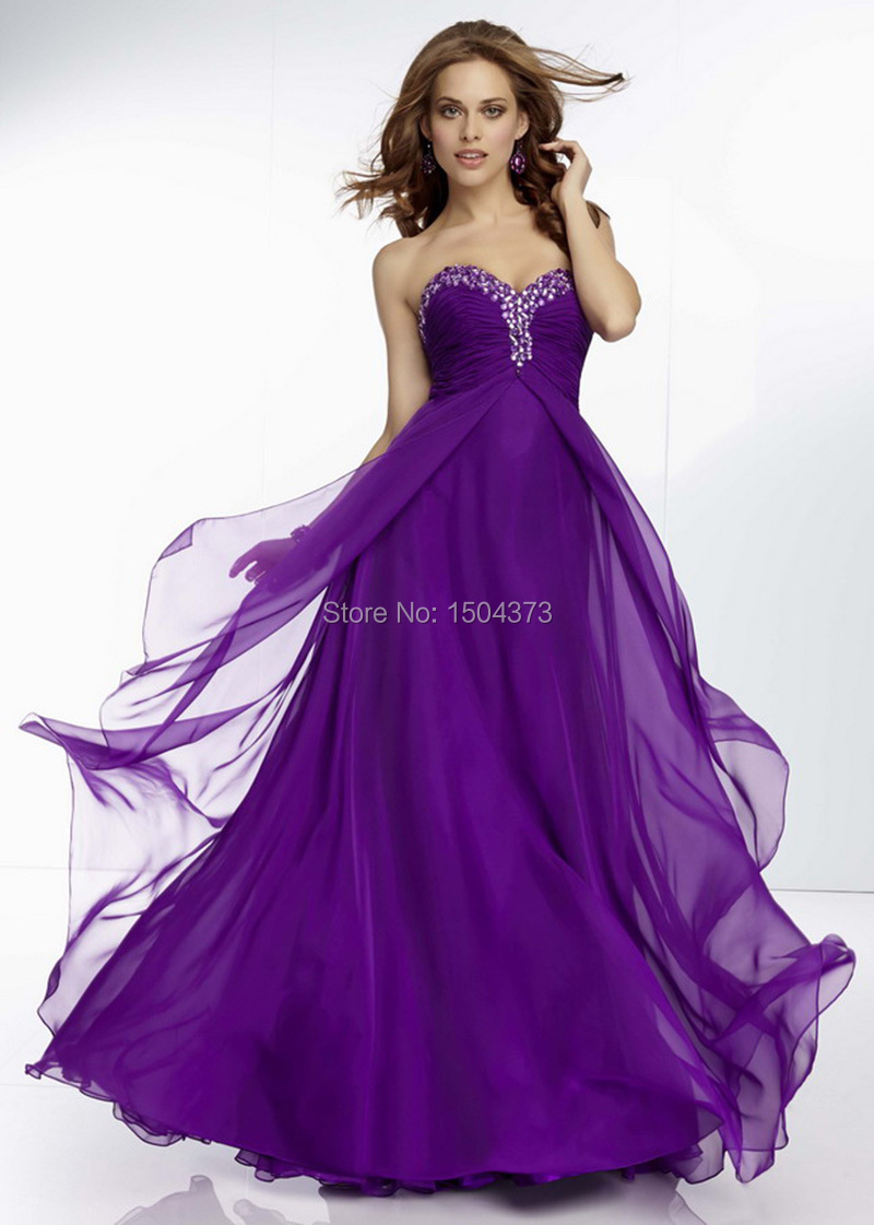 2015 Dress Brand Purple Red Chiffon Flowy Long Prom Dresses Elegant Wedding Party Dress With