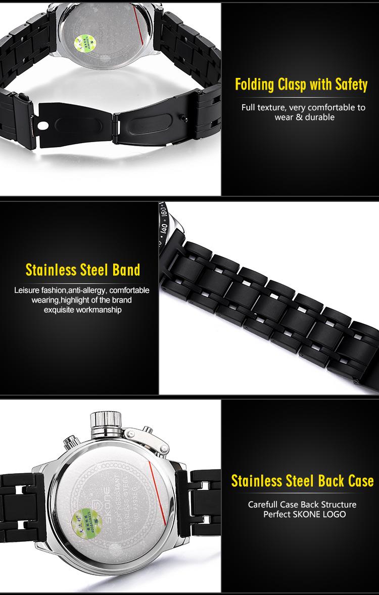 2016 SKONE Люксовый Бренд мужской Моды Случайные Спортивные Часы Кварцевые Часы Мужчины Наручные Часы