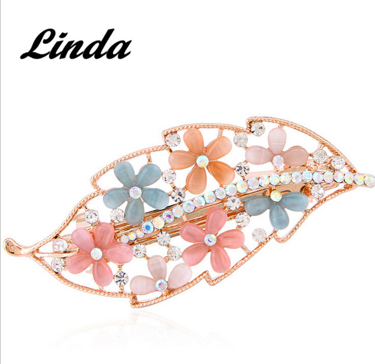 Leaf opals metal hair claw clip fashion wholesale metal hair clips girl's metal duckbill clips HR04 free shipping(China (Mainland))
