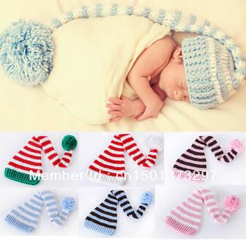 Free Shipping  Wholesale 1 Piece Cotton Newborn Infant Baby Boy Girl Unisex Christmas Xmas Hat Beanie Cap Santa Crochet Stripes