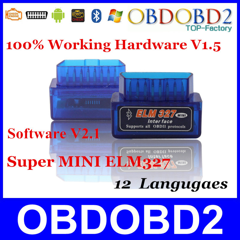 100% Hardware V1.5 Super MINI ELM327 Software V2.1 Bluetooth 12Kinds Multi-Langugae OBDII CAN-BUS Works ON Android Torque/PC(China (Mainland))