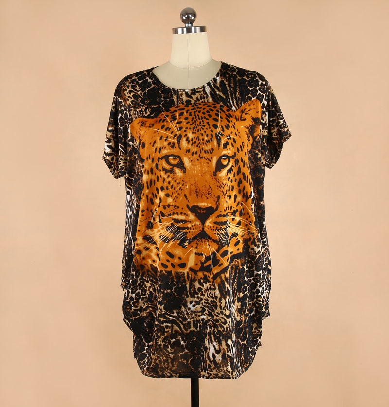 Wholesale two sides animal print plus size loose shirt for Wildlife t shirts wholesale