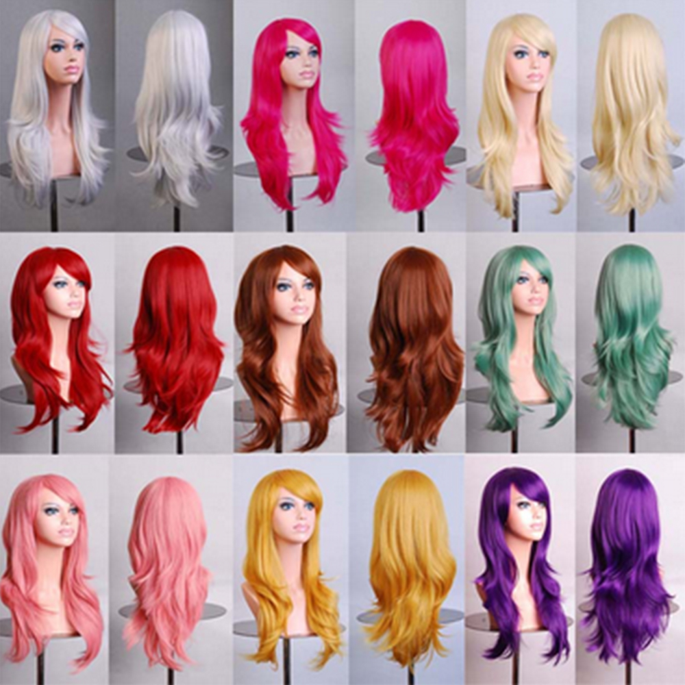 "Women 23"" Long Curly Harajuku Anime Cosplay Wig Kanekalon Fiber Synthetic Black Brown Pink White Blonde Party Dress Hair Wigs(China (Mainland))"