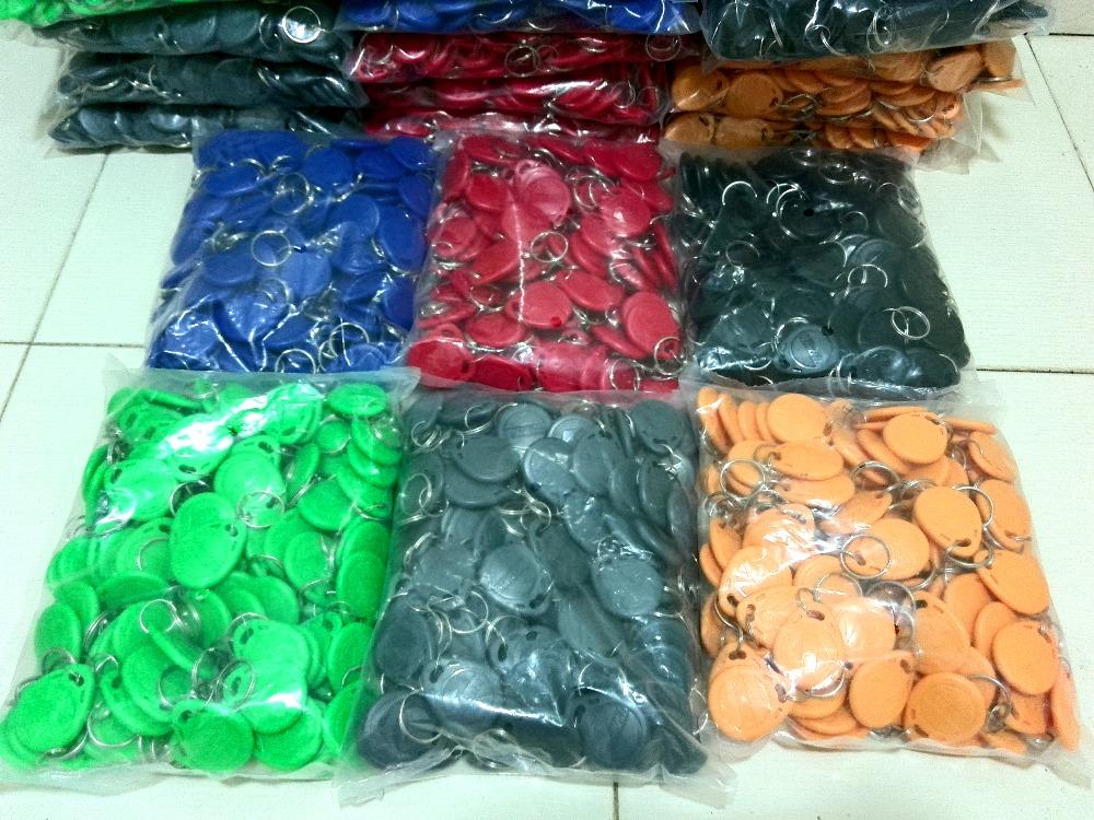 1000pcs Rfid Tag 125Khz keyfobs EM4100 (Red blue yellow green black Grey) 6 Colors Free Shipping(China (Mainland))
