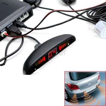 12V LED 4 Parking Sensors System Indicator Display Car Reverse Radar Kit White Free Shipping 24