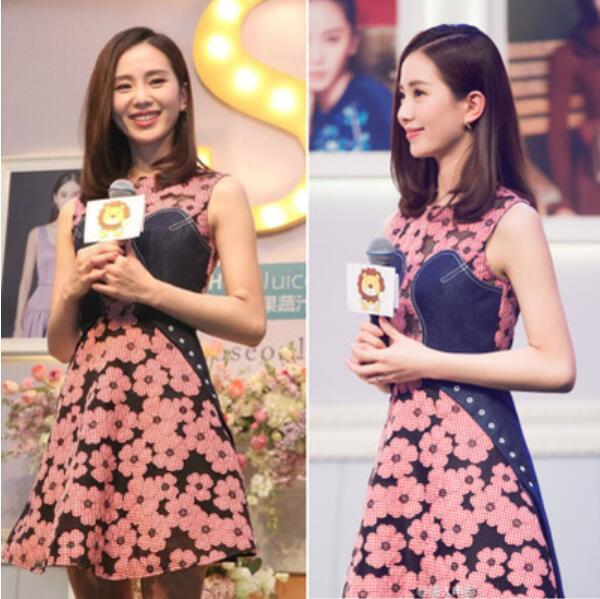 New Summer dresses 2016 Women Pink Flowers cowboy Splice denim dress(China (Mainland))