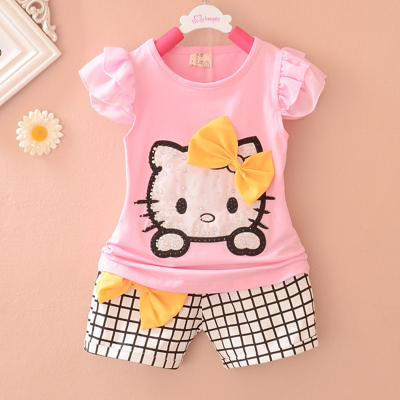 Summer Baby Clothing Baby Girls Butterfly short Sleeve Bow Dimond Hello Kitty Decorate + Plaid Shorts 2PC Suit Girls Set SU0301(China (Mainland))