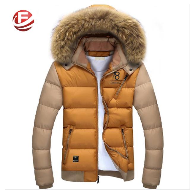 Меховой воротник зимние парки держать теплую куртку лоскутная дизайн большой размер ...