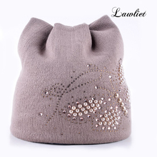 Women Winter Hats Female Beanies Hat Diamond Pearl Butterfly knitted Hats for Women with Meow Ear Women beanies Cap Ladies Hats(China (Mainland))