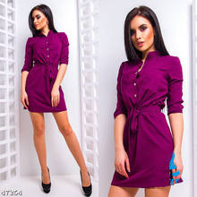 Womens Stand Collar Loose Dress Elegant Waist Band Beach Party Dresses(China)