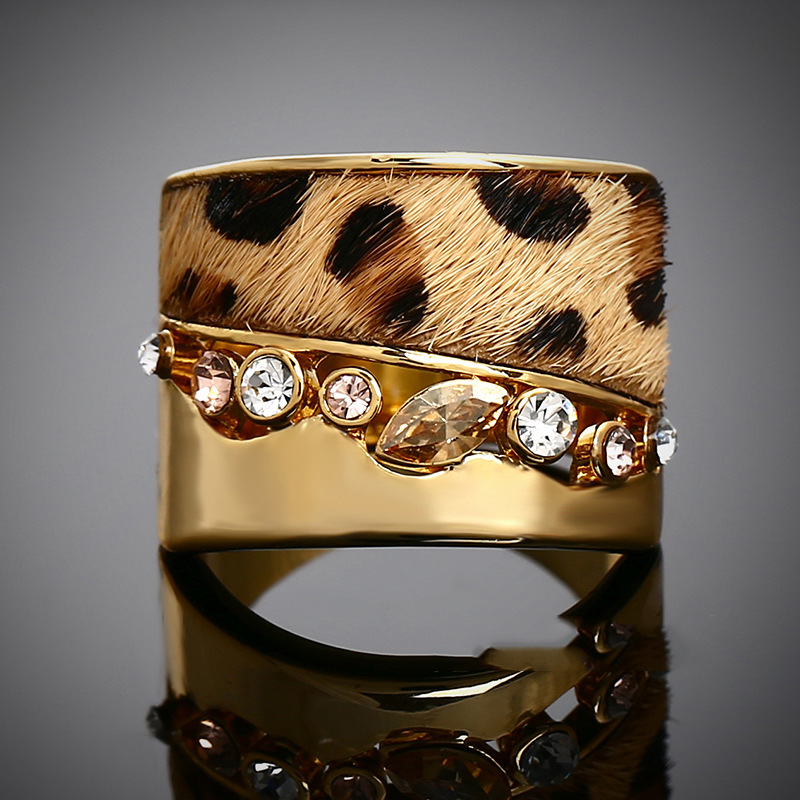 TY001-55 Big Promotion Anel De Ouro 18K Gold Leopard Print Fur Rings Gold Filled Ring Korean Drama Hot Fashion Ring Punk Jewelry(China (Mainland))