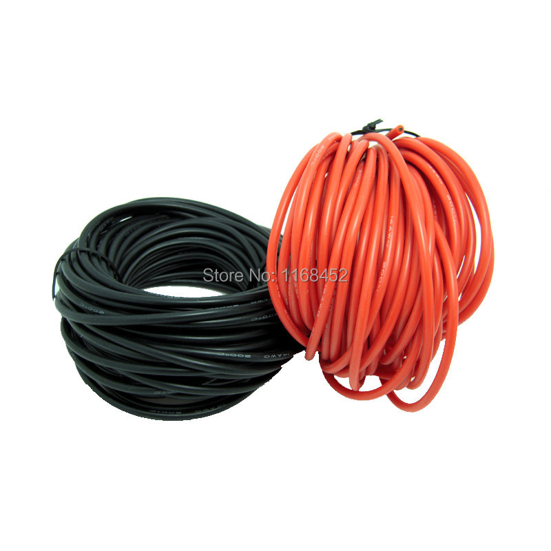 13AWG 5meter Red+5meter Black Heatproof Soft Silicone Silica Gel Wire Connect Cable 2.5mm Silicone Rubber Test Lead Wire<br><br>Aliexpress
