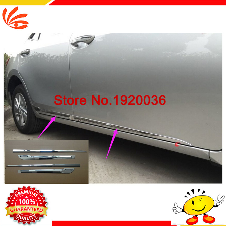 car styling chrome body side door trim molding exterior cover for toyota corolla 2014 door side. Black Bedroom Furniture Sets. Home Design Ideas