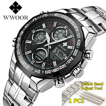 Relogio Masculino WWOOR montre hommes 2019 Top marque de luxe LED grand cadran hommes or montres bracelet étanche doré montre pour hommes(China)