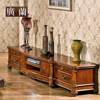 Free shipping American style furniture 2.4 meters solid wood tv cabinet fashion living room cabinet wood carved wmj0930