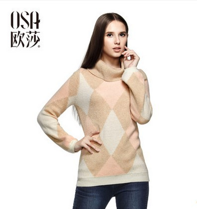 OSA 2014 Winter Women's Long Sleeve Turtleneck Color Block Patchwork Pullover Sweater SE412015(China (Mainland))