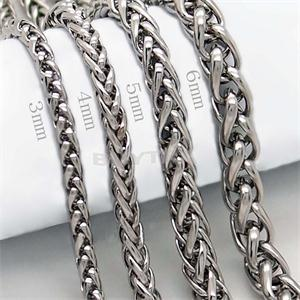 Silver Plated Stainless Steel Material Men Necklaces Casual Sporty Comfortable Braided Chains Necklaces Men 3 4 5 6mm ST(China (Mainland))