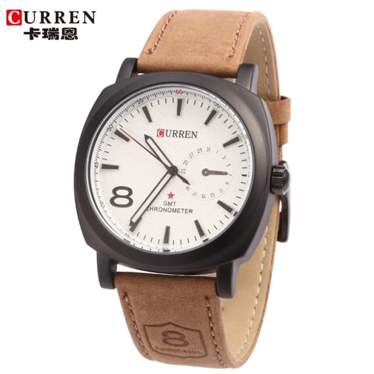 100% Original Curren Brand Genuine Leather Strap Watch Mens Man Quartz Analog Military Waterproof Sport Wristwatch - Mulan Fashion Accessories CO,LTD store