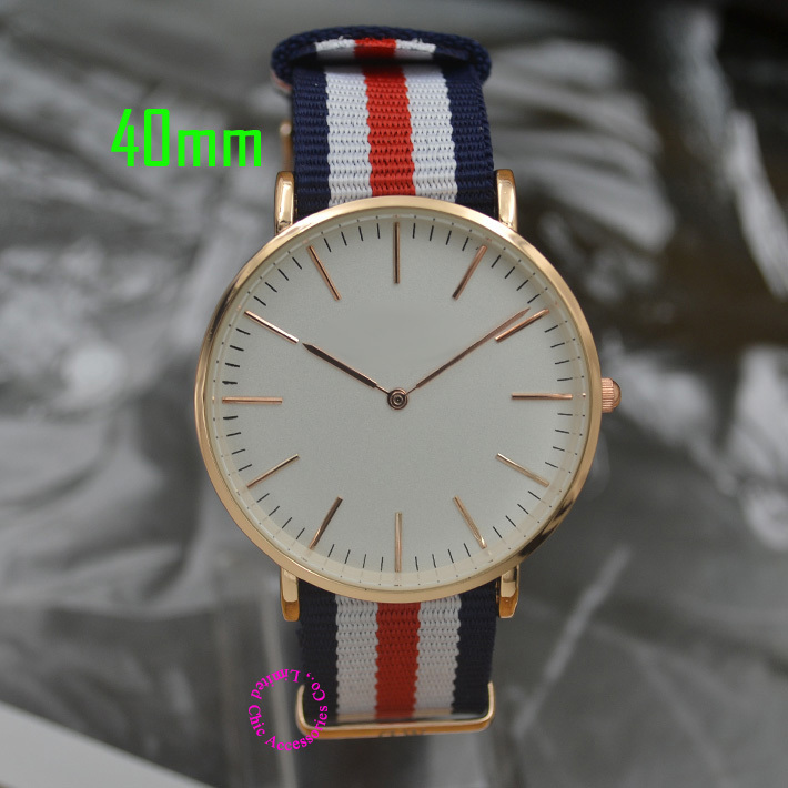 quartz fashion watch men wristwatch women 36mm 40mm real leather nylon strap luxury brand rose gold