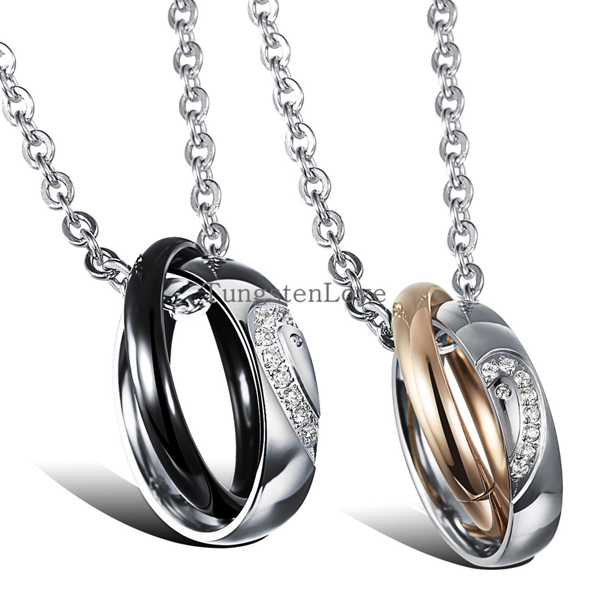 Wholesale Fashion Jewelry Lovers Titanium Steel Rhinestone Pendant Necklace Black & Gold Matching Heart Men Women collares 2015(China (Mainland))