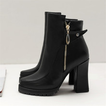 Buy Size 34-45 Autumn Winter Zipper Women boots Platform High heels Ladies Rivet Martin Leather boots Square heel Snow Boots Shoes for $28.60 in AliExpress store