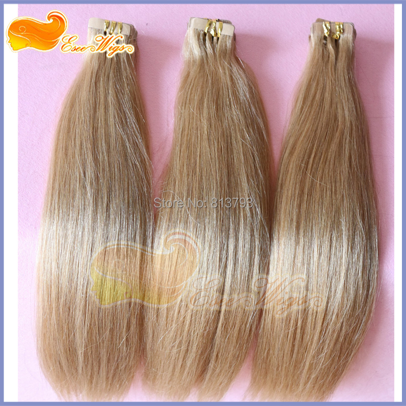 Free Shipping Remy Hair Extension Adhesive Tape Hair Extension Straight 8# color(China (Mainland))