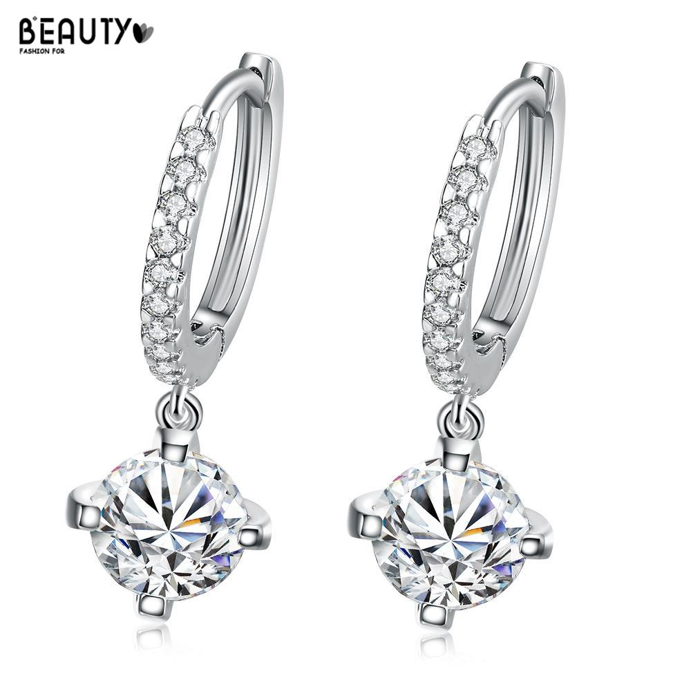 2016 Women Round White Zircon Small Hoop Earrings Crystal Earing Gold Plated Earings Fashion Jewelry Earring AKE007(China (Mainland))