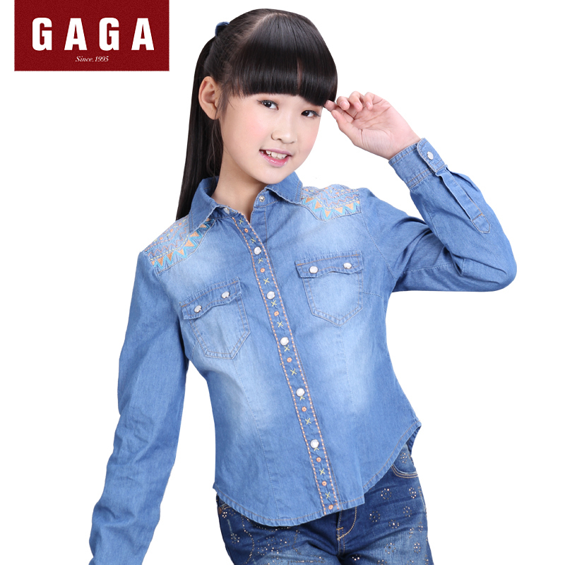 GaGa Big Girls Denim Blouse Casual Long Sleeve Embroidery Kids Clothes With Pocket Fashion High Quality Shirts Autumn 2015<br><br>Aliexpress
