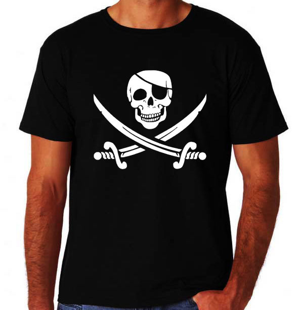 Pirate Skull Crossbone Swords Jolly Rodger New Mens Cool Novelty Black T-Shirt Summer Short Sleeves New Fashion T Shirt(China (Mainland))