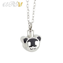 Buy silver 316L stainless steel bear urn cremation jewelry necklace pendant perfume locket o-shaped chain for $7.00 in AliExpress store
