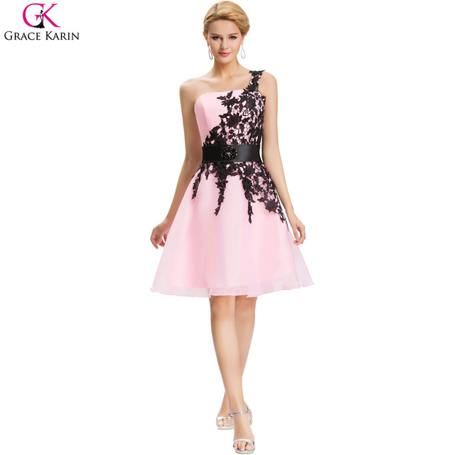 Платья невесты короткие дешевые под $ 50 грейс карин одно плечо белый синий розовый ...