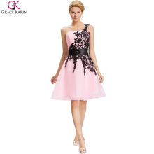Short Cheap Bridesmaid Dresses Under $50 Grace Karin One Shoulder White Blue Pink Black Lace Knee Length Party Formal Dress 4288(China (Mainland))