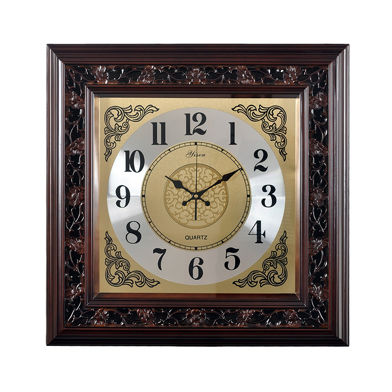 Chinese wood wall clock mute wall clock living room large square quartz watch China wind hanging European clocks Seiko(China (Mainland))