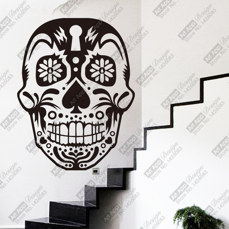 2015 New design art home decor environmental waterproof removable skeleton Wall Stickers decals for bar or shop(China (Mainland))