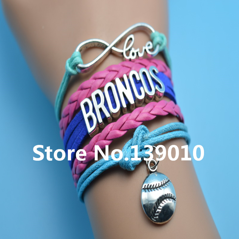 Infinity Love Broncos Baseball AFC Team Bracelets Red Blue Grean Leather Rope Wrap Customize NCAA Sports Wristband Cuff Bangles(China (Mainland))