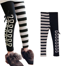 Free Shipping New Kids Clothes Sweet Girls Classical Black And White Design Leggings Ages3-8Y