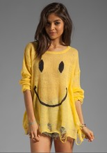East Knitting NP-081 Smile Face Destroyed Sweater turtleneck Yellow(China (Mainland))