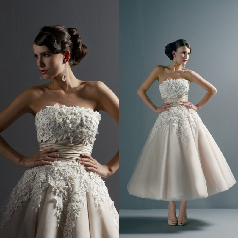2015 vintage 1950s short wedding dress ball gown strapless