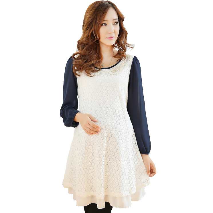 Elegant Lace Maternity Dresses for Winter Long-sleeve Casual Maternity Clothes for Pregnant Women Pregnancy Dresses for Autumn(China (Mainland))