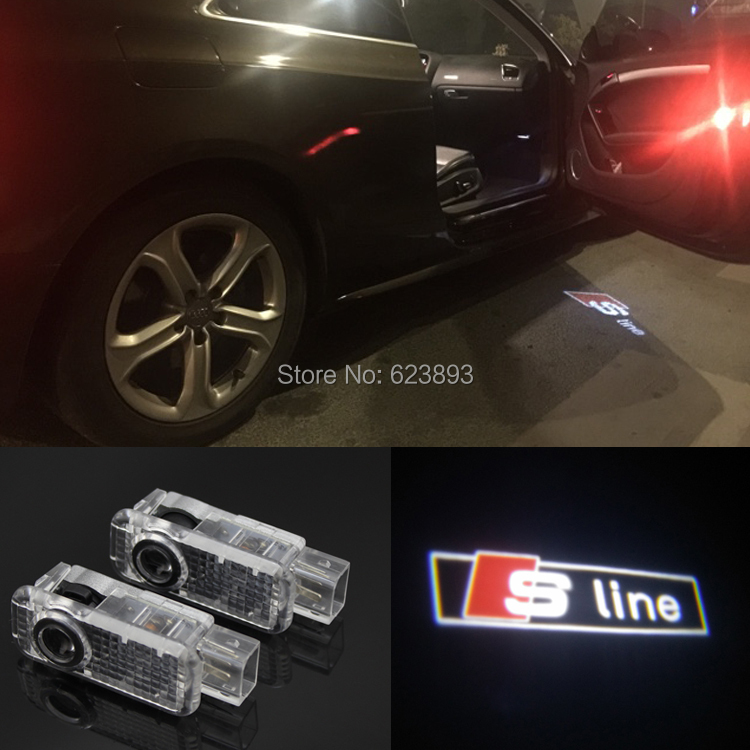 2x car door light, Ghost shadow lights, projectors Logo emblem for Audi A3 A4 A6 A8 A6L Q5 Q7 R8 TT A4L A6L A5 A7 A1 Q3 S line(China (Mainland))