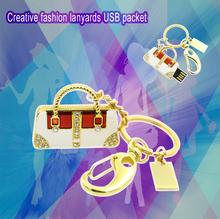 retail jewelry keychain crystal glass luxury hand bag shape usb flash drive 8GB pen drive memory stick flash drive free shipping(China (Mainland))